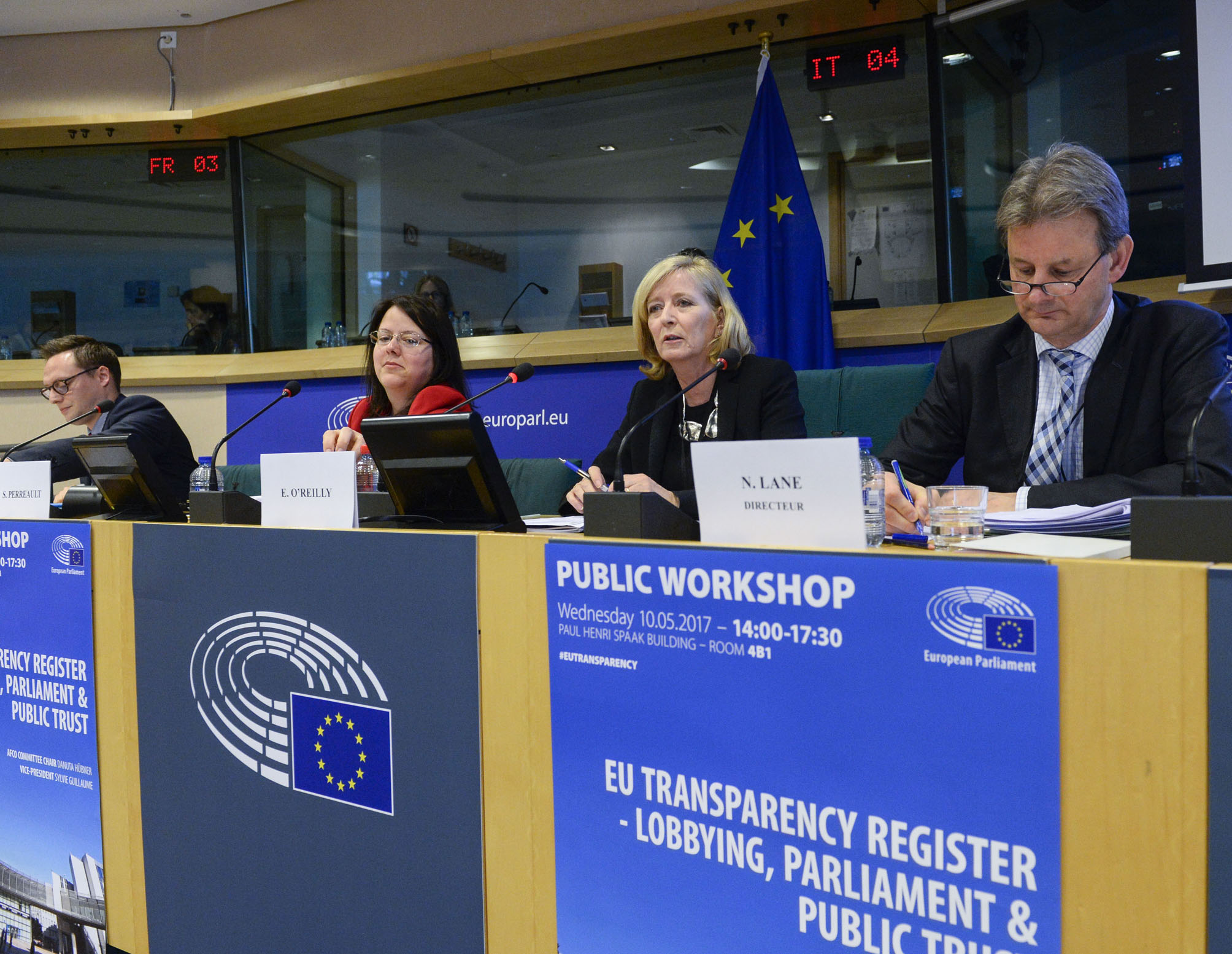 """The European Ombudsman, Emily O'Reilly, speaking at the """"EU Transparency Register – lobbying, Parliament & public trust"""" workshop, which the European Parliament organised in May."""