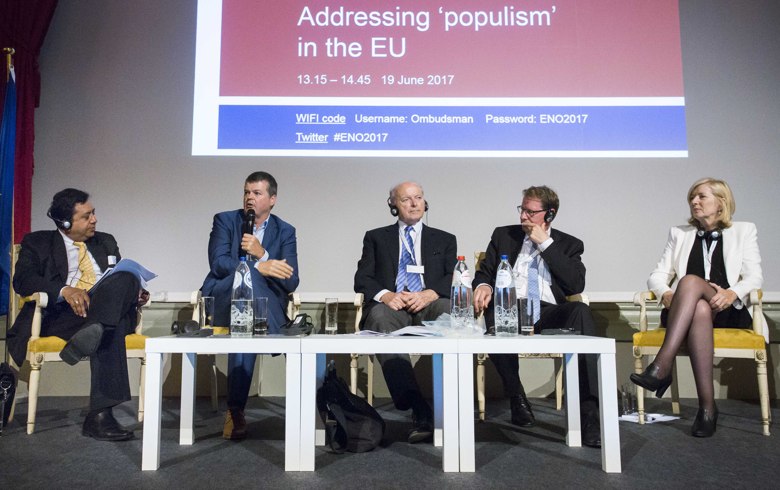 The panellists of the first session of the 2017 conference of the European Network of Ombudsmen (left to right): Sanjay Pradhan, Chief Executive Officer, Open Government Partnership; Bart Somers, Mayor of Mechelen in Belgium; Jacques Toubon, Defender of Rights of France; Gero Storjohann, Deputy Chair of the German Federal Petitions Committee; and Emily O'Reilly, European Ombudsman.