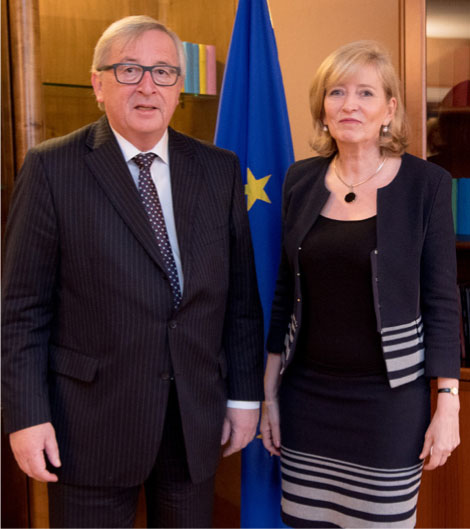 Emily O'Reilly with Jean-Claude Juncker, President of the European Commission.