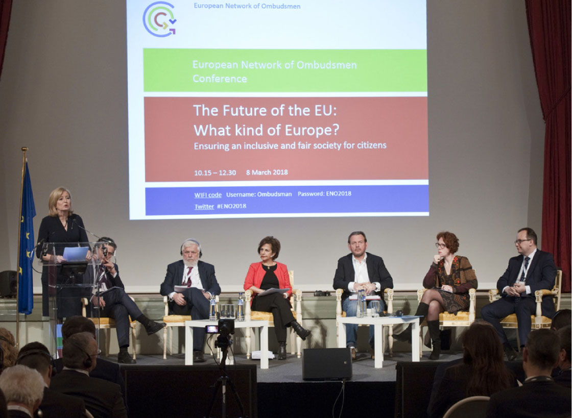 The panellists of the first session of the 2018 conference of the European Network of Ombudsmen (left to right): Emily O'Reilly, European Ombudsman; Andreas Pottakis, Greek Ombudsman; Georges Dassis, President of the European Economic and Social Committee; Shada Islam, Moderator; Reinier van Zutphen, National Ombudsman of the Netherlands; Ulrike Guérot, Professor of European policy and the study of democracy; and Adam Bodnar, Ombudsman of Poland.