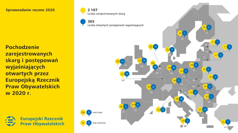 Pochodzenie zarejestrowanych skarg i postępowań wyjaśniających otwartych przez Europejską Rzecznik Praw Obywatelskich w 2020 r.