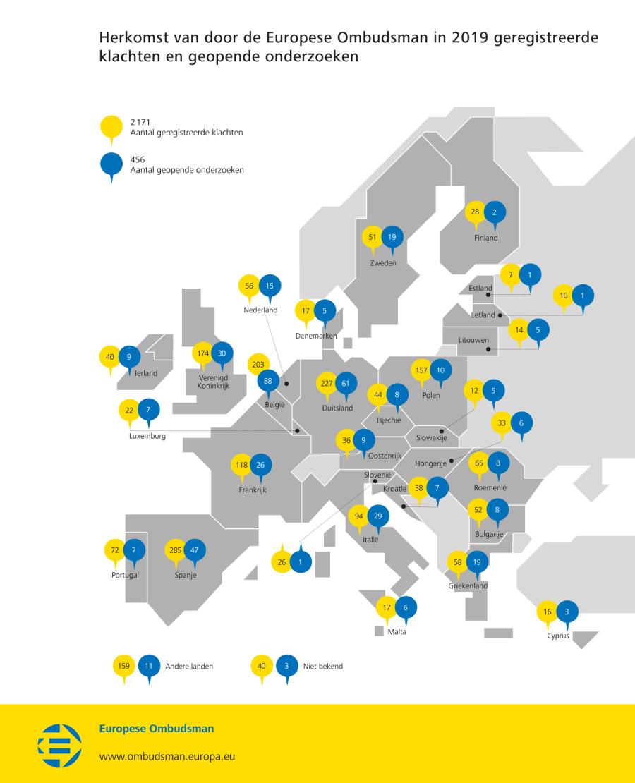 Herkomst van door de Europese Ombudsman in 2019 geregistreerde klachten en geopende onderzoeken