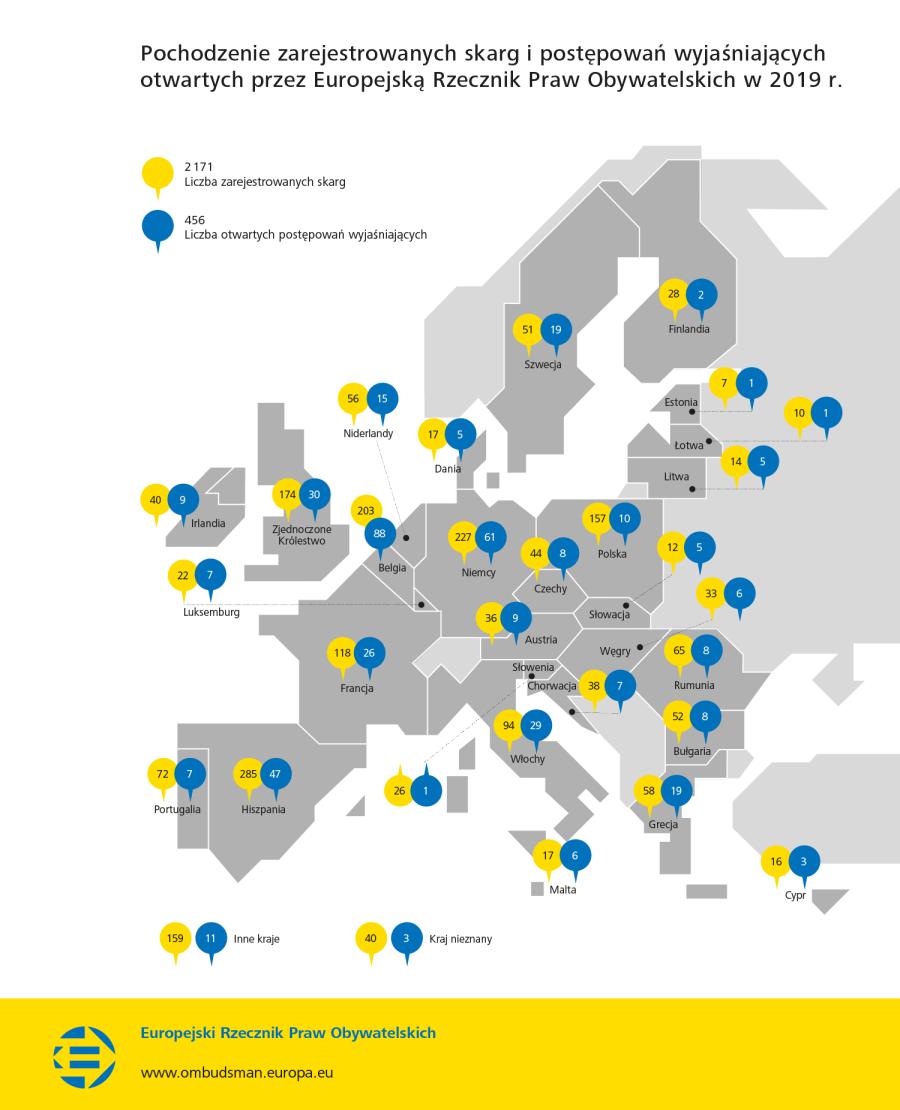 Pochodzenie zarejestrowanych skarg i postępowań wyjaśniających otwartych przez Europejską Rzecznik Praw Obywatelskich w 2019 r.