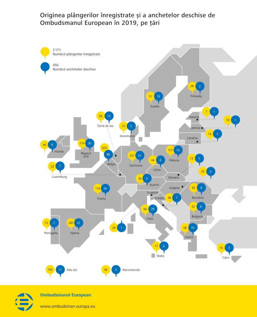 Originea plângerilor înregistrate și a anchetelor deschise de Ombudsmanul European în 2019, pe țări
