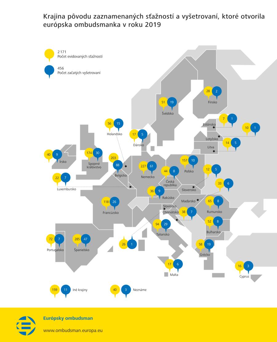Krajina pôvodu zaznamenaných sťažností a vyšetrovaní, ktoré otvorila európska ombudsmanka v roku 2019