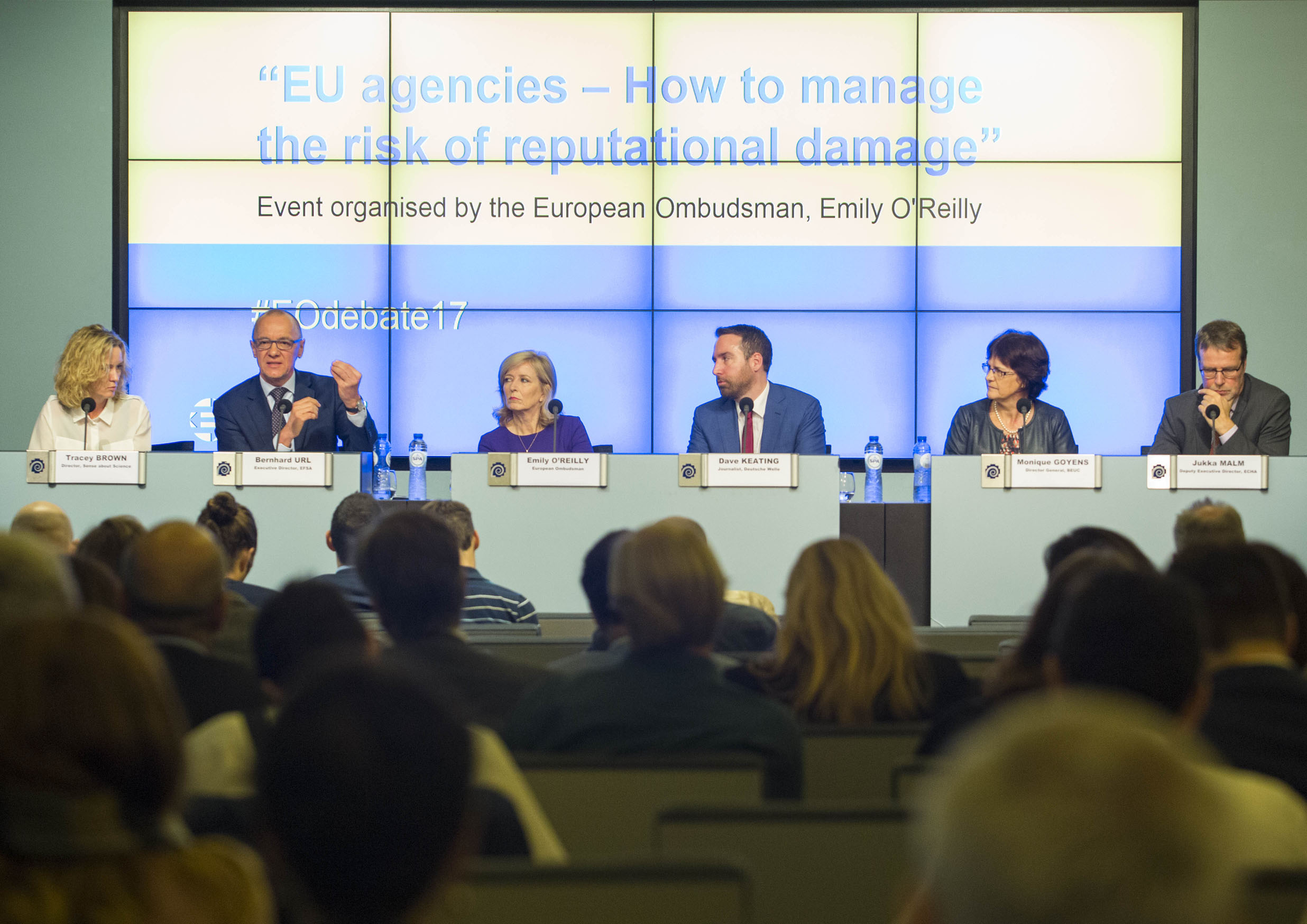 """The European Ombudsman's public event entitled """"EU agencies: How to manage the risk of reputational damage"""" in October with panellists (from left to right): Tracey Brown, Director of Sense about Science; Bernhard Url, Executive Director of EFSA; Emily O'Reilly, the European Ombudsman; event moderator, Dave Keating; Monique Goyens, Director-General of the BEUC; and Jukka Malm, Deputy Executive Director of the ECHA."""