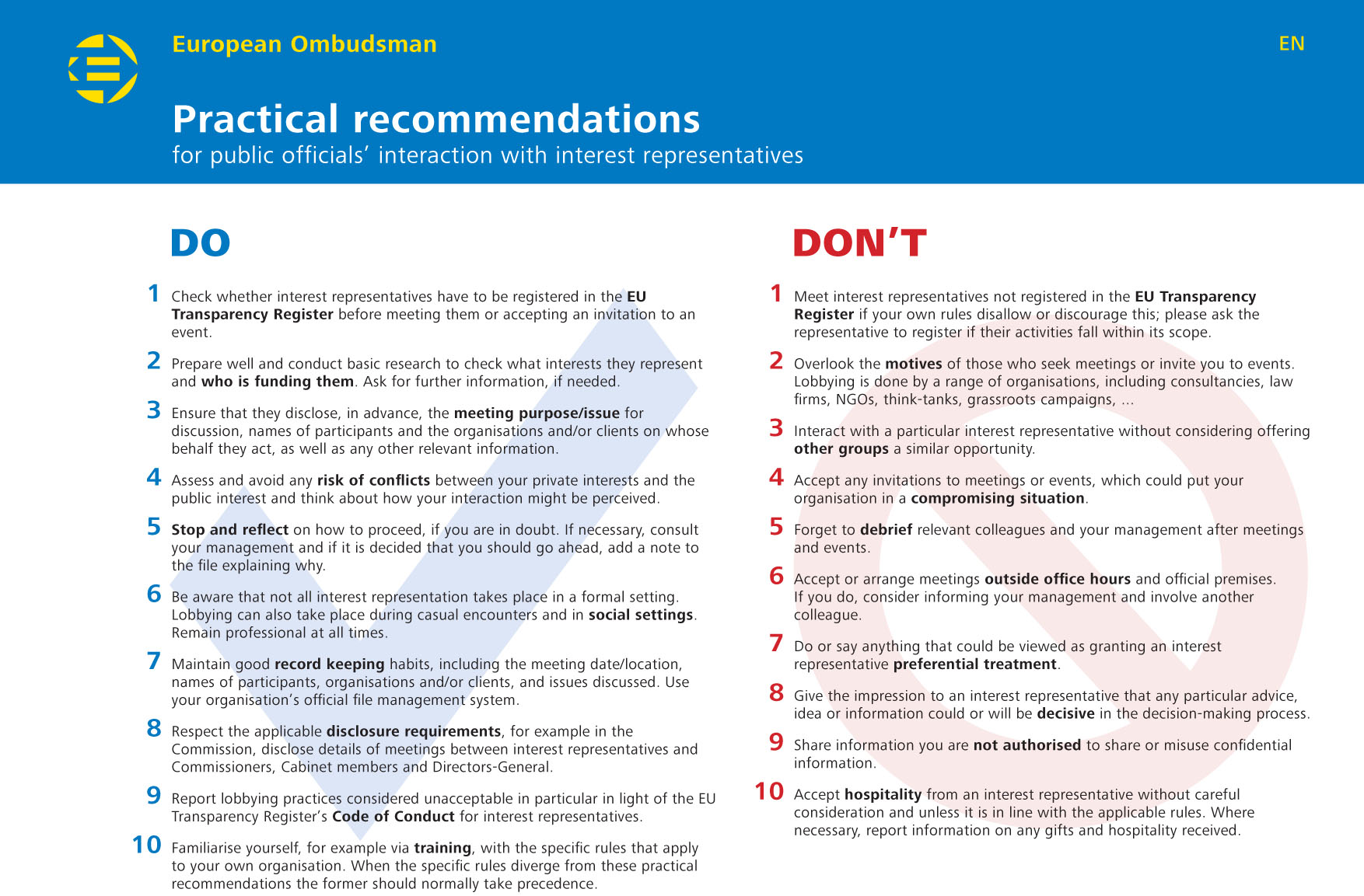 Practical recommendations for public officials' interaction with interest representatives