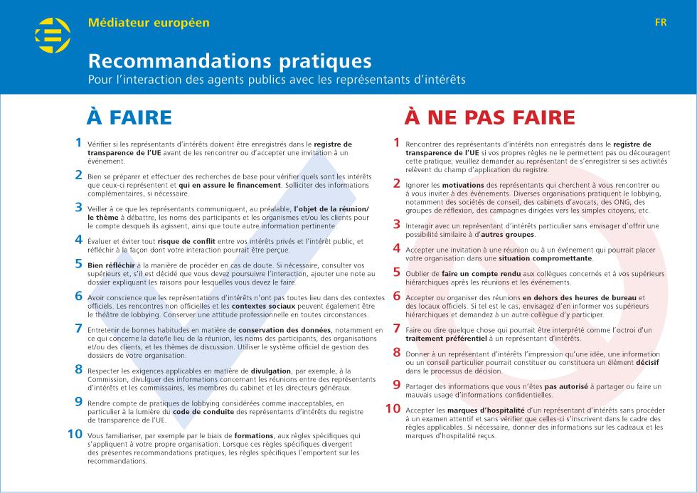 Recommandations pratiques Pour l'interaction des agents publics avec les r eprésentants d'intérêts
