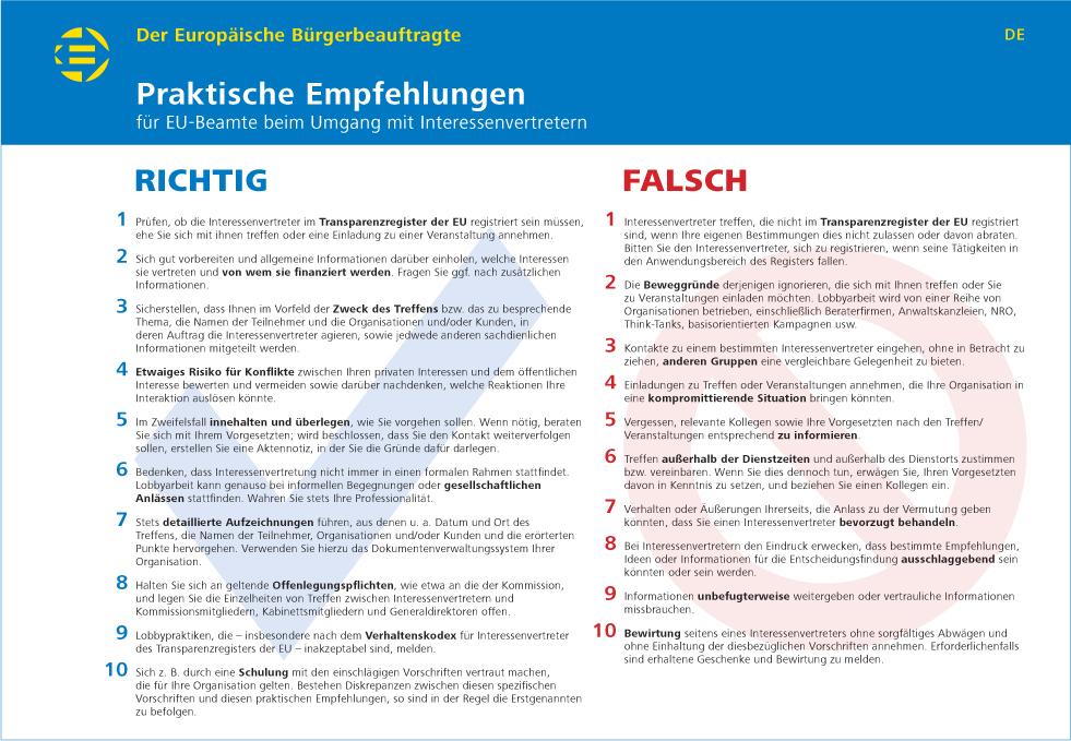 Praktische Empfehlungen für EU-Beamte beim Umgang mit Inter essenvertretern
