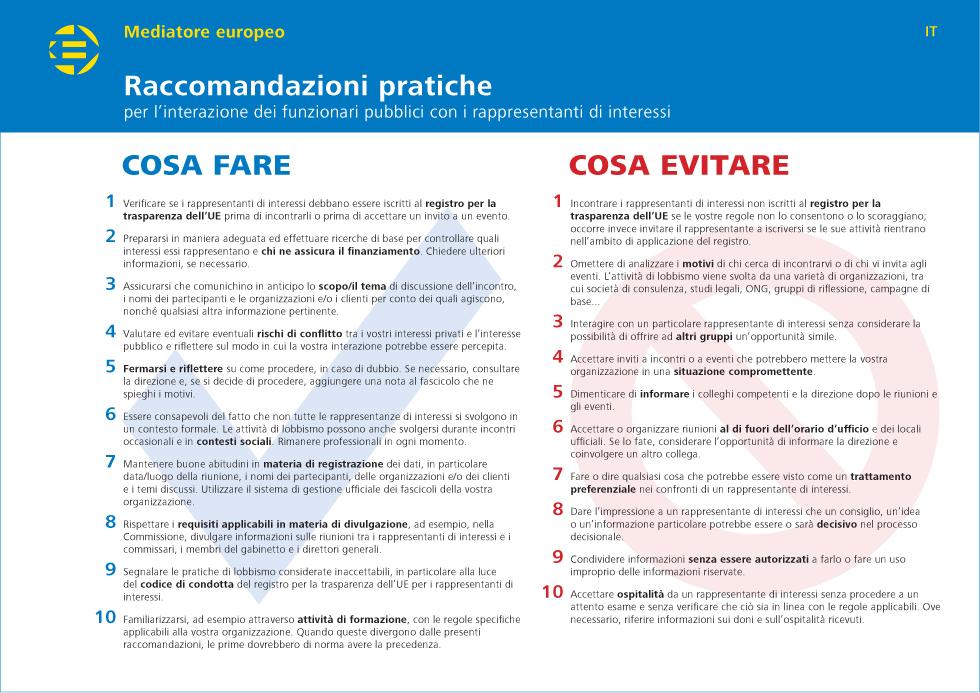 Raccomandazioni pratiche per l'interazione dei funzionari pubblici con i r appresentanti di interessi