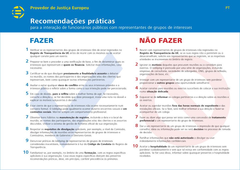 Recomendações práticas para a interação de funcionários públicos com representantes de grupos de interesses