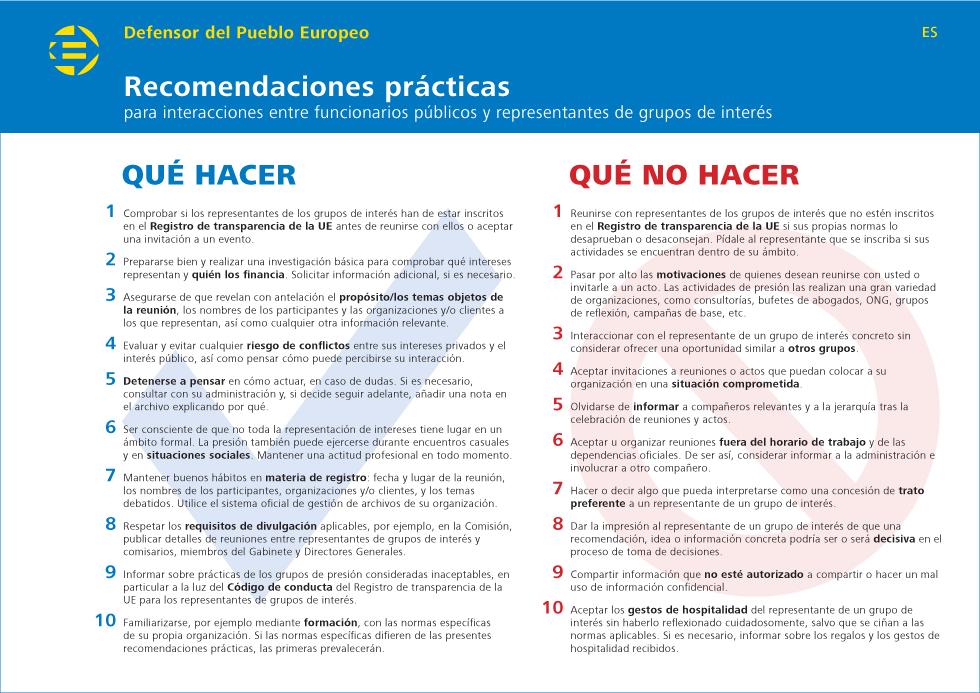 Recomendaciones prácticas para interacciones entre funcionarios públicos y representantes de grupos de interés