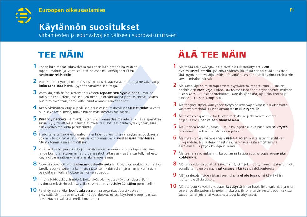Käytännön suositukset virkamiesten ja edunvalvojien väliseen vuorovaikutukseen