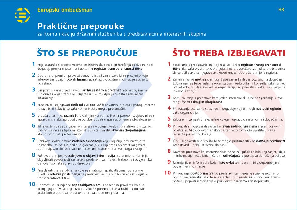 Praktične preporuke za komunikaciju državnih službenika s predstavnicima interesnih skupina
