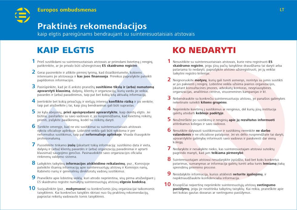 Praktinės rekomendacijos kaip elgtis pareigūnams bendraujant su suinteresuotaisiais atstovais