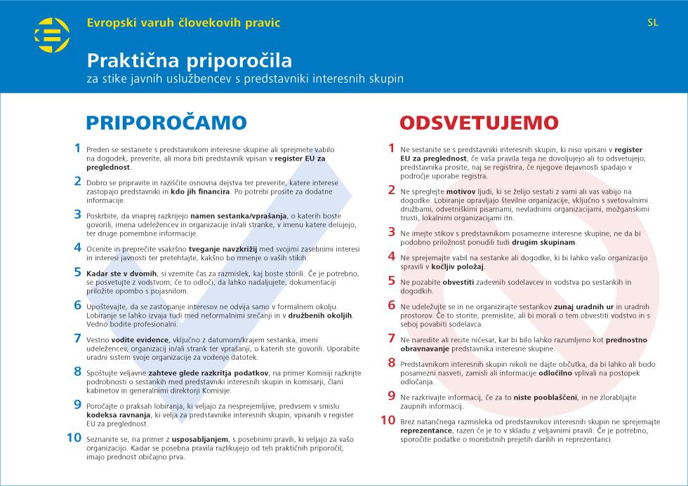 Praktična priporočila za stike javnih uslužbencev s predstavniki interesnih skupin