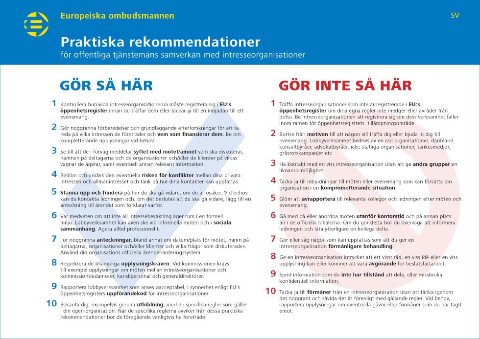Praktiska rekommendationer för offentliga tjänstemäns samverkan med intresseorganisationer