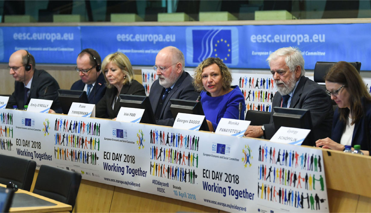 The European Ombudsman, Emily O'Reilly, with Commission First Vice-President, Frans Timmermans; President of the European Economic and Social Committee, Georges Dassis; and Deputy Minister for the Bulgarian Presidency of the Council of the EU, Monika Panayotova, at the European Citizenship Initiative Day 2018.