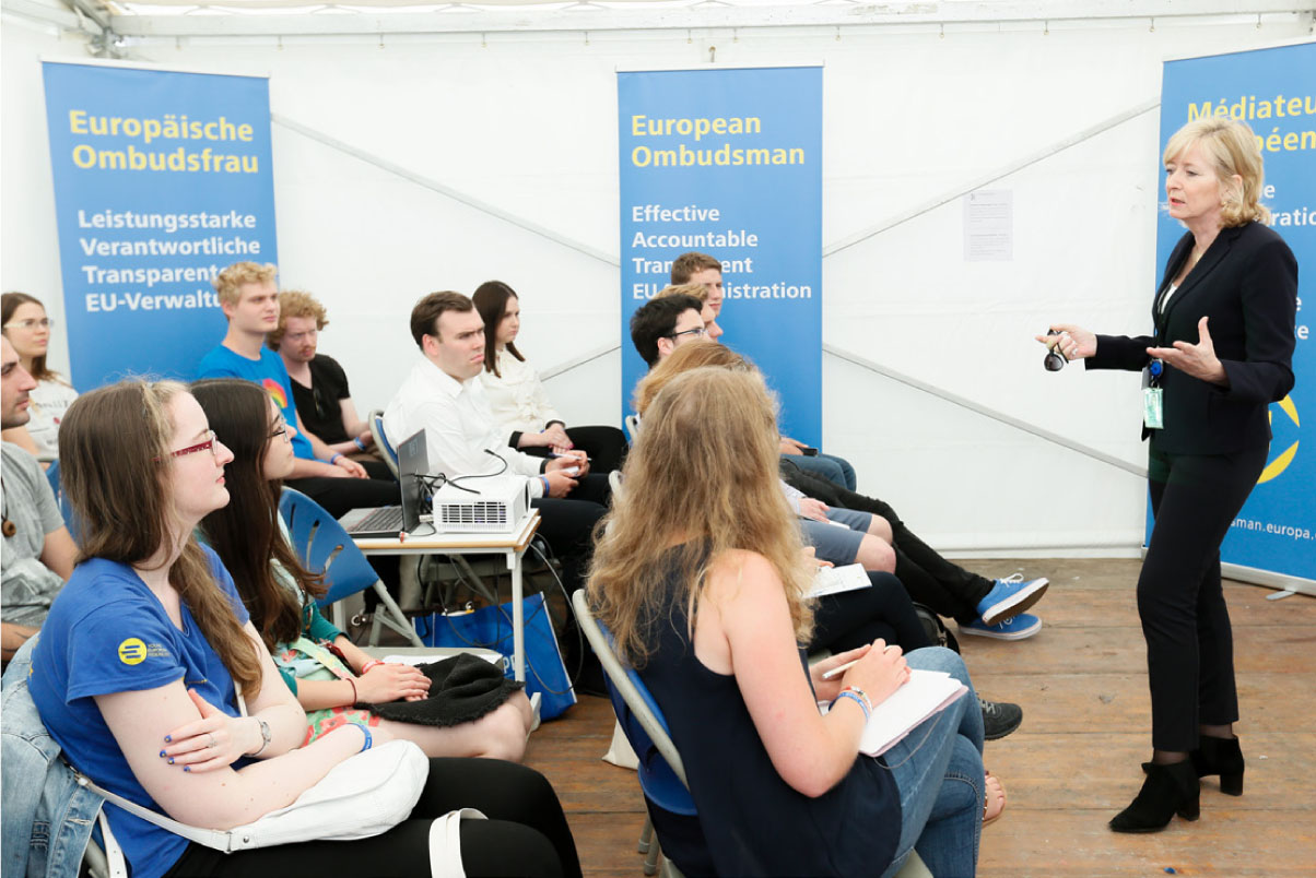 The European Ombudsman, Emily O'Reilly, talking to a group of young Europeans during the 2018 European Youth Event in Strasbourg in June.