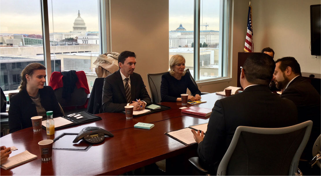 The European Ombudsman, Emily O'Reilly, in a meeting with the Director of the Office of Congressional Ethics, Omar Ashmawy, in Washington DC.