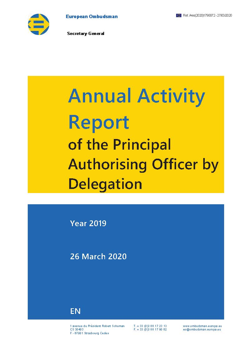 Annual Activity Report of the Principal Authorising Officer by Delegation 2019